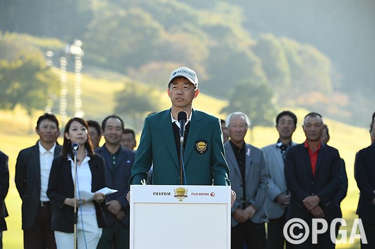 <Photo・FR>優勝スピーチをする田村尚之